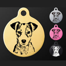 Personalised Engraved Jack Russell Terrier Aluminium Round Pet Dog Tag 7 Colors