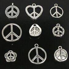 Wholesale Lots 60pcs Charms Silver Anti-war Peace Sign Pendant For Jewelry DIY