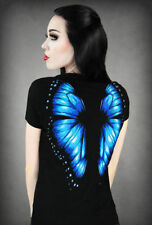 Restyle Blue Monarch Butterfly Wings Tee Shirt Top Gothic Scene Emo Punk Tshirt