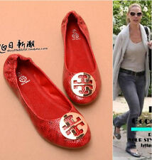 Women Fashion Soft Sweetie Snake Skin Round Toe Buckles Ballet Flats Shoes 5-10