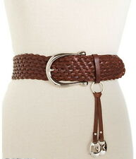 """Michael Kors Womens Belt""""Braided Leather w/ Charm"""",Brown&Silver"""