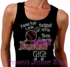 Baseball GiGi - Home Run - Iron on Rhinestone Tank Top - Bling Sports Shirt