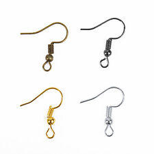 100PCS/500PCS Silver/Golden Plated Coil Wire Metal Earring Hooks 19mm 6 Sizes