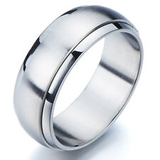 Refined Style Stainless Steel Spinner Unisex Ring Man Ring 8MM