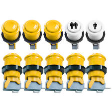 8 PCS Yellow HAPP Style Push Button + Start Push Buttons For Arcade MAME JAMMA