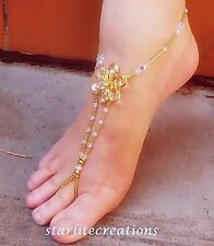 CLEOPATRA Clear AB Crystals & Gold flower bridal Barefoot Sandals stretch fit