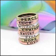 Fashion Vintage GUESS Statement Wish Love Hope Peace Luck Free Finger Tail Rings