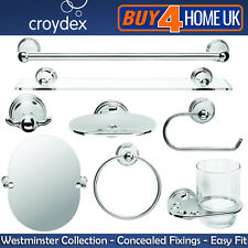 Croydex Westminster Chrome Wall Mounted Bathroom Accessories - Concealed Fixings