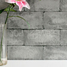 'Breeze Block' wallpaper Stone Concrete Brick Effect Wallpaper - Grey & Charcoal