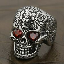 316L Stainless Steel Ruby Eyes Skull Mens Biker Ring 7A002