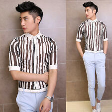 Hot Men's Boy's Stylish Vertical Stripe Sexy See-through Slim Fit Casual Shirts