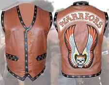 Warriors Movie Stylish Leather Vest with Embroidery