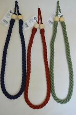 """Curtain & Chair Tie Back - 36"""" Twisted Rope w/Wooden Beads"""