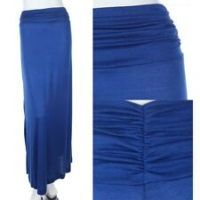 Women's Royal Blue Solid Jersey Maxi Long Skirt with Shirred Sides Casual S M L
