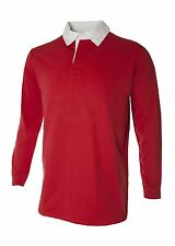 MENS & KIDS LONG SLEEVE PLAIN RUGBY SHIRTS - Red,White, Blue FREE POSTING