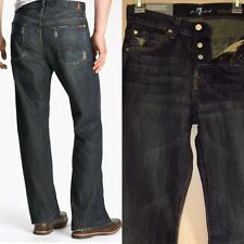 $189 Men's Seven 7 For All Mankind Relaxed Straight Jeans in Dark Distress 28 29