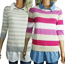 WOMENS STRIPED JUMPERS & SHIRT SIZE 12 - 22 PLUS LADIES PINK BLUE OR CREAM GREY