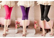 Women's Skinny Basic Plain Stretch Cropped Capri Leggings Footless Tights Pants