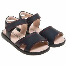 Boys Girls Childrens Toddler Real Leather Open Toe Sandals Shoes Black Wide Fit