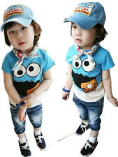 New Kids Toddlers Big Eyes Cartoon Image 100% Cotton Shirt Tops 3-8 Y T160