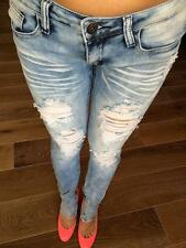 MACHINE JEANS DESTROYED RIPPED DISTRESSED WOMEN SKINNY STONE ACID WASH DENIM