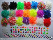 Loom Bands S Clips Rubber Charms Glow Dark UV Magic Tie-dye Beads 600 1000