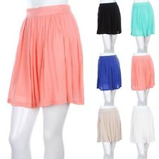 Flare Skirt with Elastic Waist Stretchable Soft Sheer Cute Micro Modal S M L