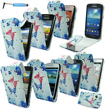 STYLISH TRENDY BLUE BUTTERFLY LEATHER FLIP POUCH CASE COVER FOR MOBILE PHONES