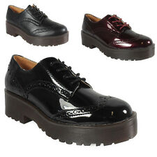 WOMENS LADIES LACE UP CASUAL BROGUE HEEL TREAD SOLE WORK SHOES CHUNKY BOOTS SIZE