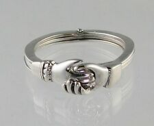 New Sterling Silver Gimmel RING Opens-Closes with Claddagh Hands Size 6