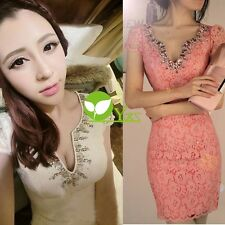 Korean Women's Temperament OL Elegance Sexy Clubwear Party Lace Mini Dress dint