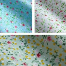 Printed Polycotton Fabric with Little Pink Flower Design - 3 Colours *Per Metre*