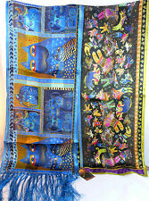 New Laurel Burch Soft Silk Scarf Shawl INDIGO CATS or FELINE FAERIES-Your Choice