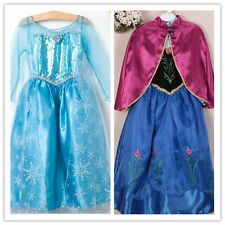 New Frozen Queen Elsa Anna Princess Costume Cosplay Tulle Girls Snow Party Dress