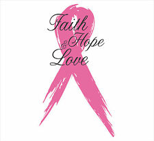 """Pink 2""""x5"""" Faith, Hope, & Love Breast Cancer Awareness Tattered Ribbon Decal"""