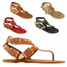 New Women Buckle Ankle Studded Strappy Flat Sandals Fashion Shoes