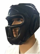 Woldorf USA Fixed Face Head Gear Leather cage Boxing MuayThai Kickboxing