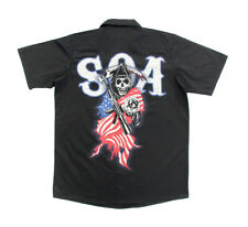 Adult Black TV Show Sons of Anarchy Americana Button Bown Workshirt T-Shirt