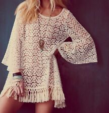 Womens Vintage Hippie Boho Bell Sleves Gypsy Festival Fringe Shirt Lace Tops Q