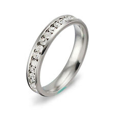 Women's Men's Wedding Band Eternity Ring Round Cut AAA CZ Narrow Silver