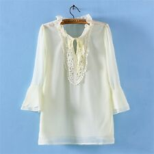 Vintage Womens Lace Embroidered Floral Princess Collar Chiffon Blouse Shirt Tops