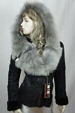 Women 100% Real Shearling Suede Leather Sheepskin Toscana Hood Jacket Coat S-5XL