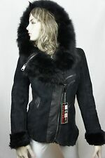 NEW 100% Real Shearling Suede Leather Sheepskin Toscana Hood Coat Jacket S-5X