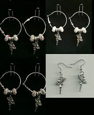Hoop & Fish Hook Earrings  with Tinkerbell Charm & Crystal Beads