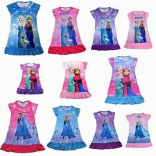 New Kids Frozen Elsa Anna Princess Girls Dress Pajamas Nightgown 4 6 8 10