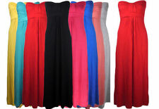 Ladies Women's Strapless Boobtube Knot Front Bandeau Womens Maxi Dress 8-14