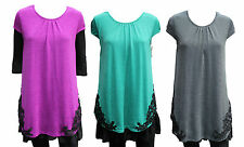 NEW Quelque by FILO FLORAL LACE TRIM TUNIC W/ CHIFFON HEM SIZES 8 10 12 14 16 18