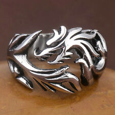 Men's Biker Chinese Zodiac Dragon Ring Vintage 316L Stainless Steel Finger Band