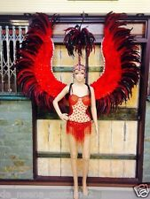 C105 Da NeeNa Red Angel Victoria Secret Ostrich Leotard Bodysuit Headdress Wings