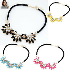 Fashion Crystal Flower Necklace Choker Bib Statement Chunky Collar  Jewelry